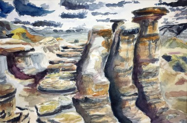Hoodoos, Drumheller Valley, Alberta Badlands, 2014 Watercolor, pencil on paper
