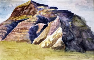Castle Butte, Big Muddy Badlands, Saskatchewan III, 2014 Watercolor, pencil on paper