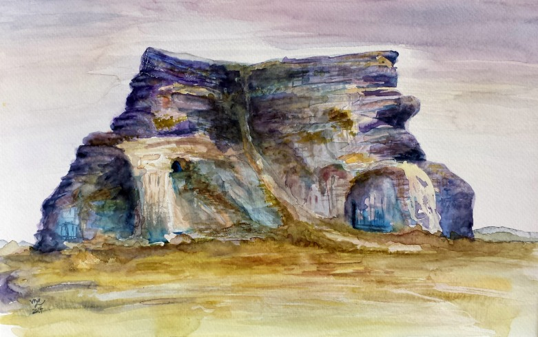 Castle Butte, Big Muddy Badlands, Saskatchewan I, 2014 Watercolor, pencil on paper