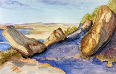 Castle Butte, Big Muddy Badlands, Saskatchewan II, 2014 Watercolor, pencil on paper Based on a photo by Mitchell Serbu